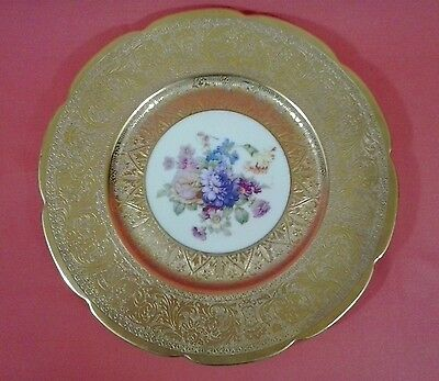 H & C Heinrich & Co. Selb Bavaria 22K Gold Hand-Painted Plate