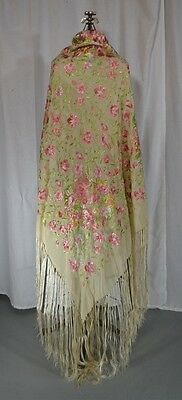 silk shawl throw embroidered off white rose green 50 in. sq  antique original
