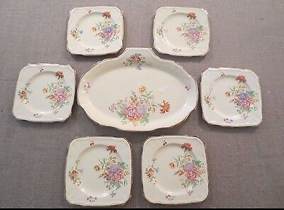Pretty vintage Alfred Meakin sandwich plate and x 6 matching side plates