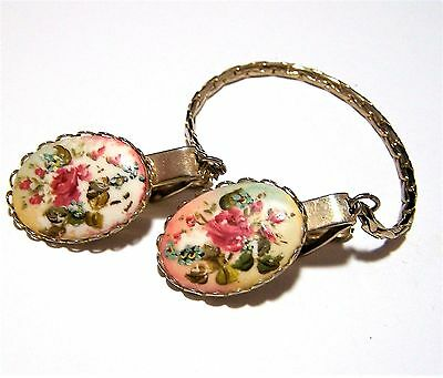 Vintage Shabby Hand Painted Flower Sweater Guard Clip Fashion Accessory 616