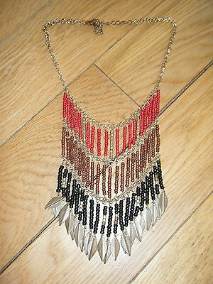 *next* Gorgeous Ethnic Beaded Layer Panel Leaf Charm Statement Necklace Holiday
