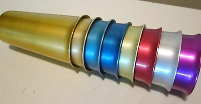 """(8) Unmarked Light Metals Corp 1950's Zephyr Ware Anodized Aluminum 5"""" Tumblers"""