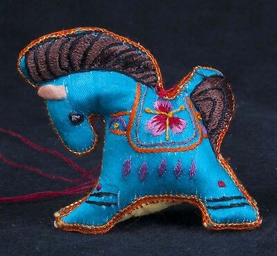 Vtg 70's Chinese Satin Embroidered Fabric Horse Animal Christmas Ornament