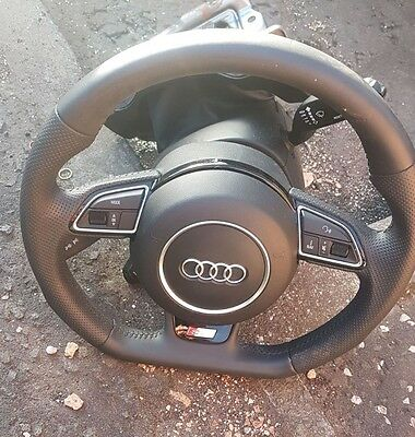 OEM Audi A3 A4 A5 A6 A7 A8 Q7 S-Line Flat Bottom Steering Wheel . with  bag