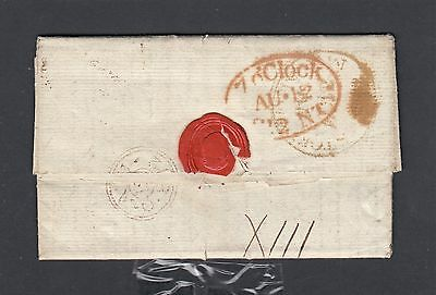 Uk 1812 Stampless Fl Boston To Tadcaster '7 O'clock Oval' & Bishops Mark