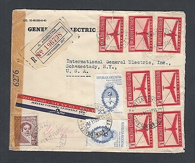 Argentina 1944 Wwii Censored Airmail Cover Buenos Aires To Achenectady New York