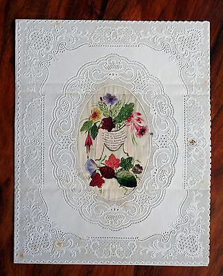 Large Victorian Valentine Card Lace Paper Dobbs Silk Scraps Flowers Leaves Opens