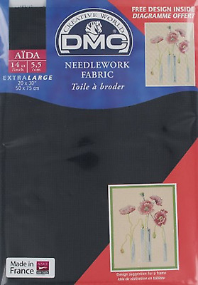 "DMC NEEDLEWORK CROSS STITCH FABRIC AIDA 310 BLACK 14ct 20 x 30"" 50cms x 75cms"