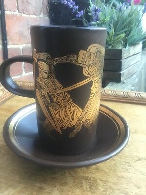 PURBECK POTTERY BROWN / GOLD MEDIEVAL MUG & Saucer Sword fight Game Of Thrones
