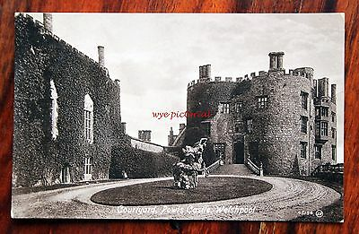 Posted 1916 Printed Postcard Welshpool Powis Castle Courtyard