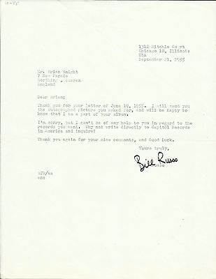 1928-2003 BILL RUSSO, typed letter, ORIGINALLY SIGNED!