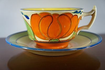 Clarice Cliff Orange Lily Pattern Athens Cup & Saucer - c1929