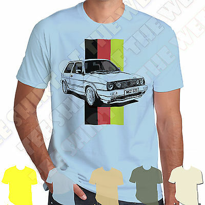 Golf Gti Mk2 100% Cotton T-shirt Personalised plate option +7col of Tee