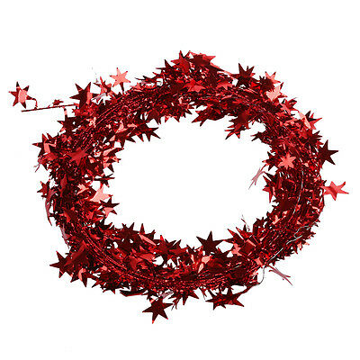 SALE ! 23 Feet Red-Star Shaped TInsel Wire Garland Christmas Decoration FK