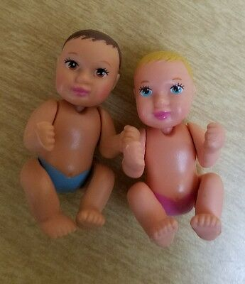 2002 Pregnant Barbie Midge Babies Lot 2 Boy Girl Replacement Dolls Happy Family