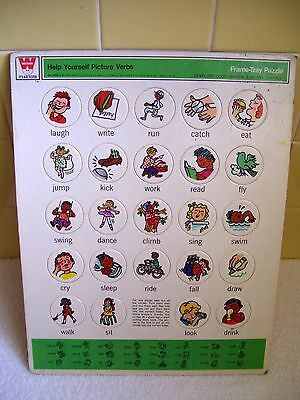 Vintage 1969 Whitman Help Yourself Frame Tray Puzzle 24 Verb w Colorful Pictures