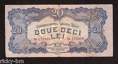 Romania Russia 20 lei 1944 Red Army Occupation , scarce banknote WW2 period