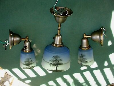 Arts & crafts, Bath, Bedroom, Hall Lights, Frosted Reverse Painted Blue Shades