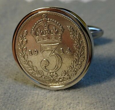 Pair Genuine TOP QUALITY Antique .925 Silver Threepence  Cufflinks
