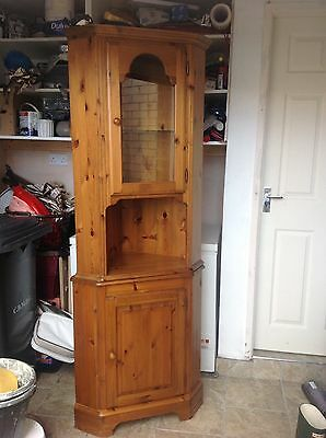 Ducal Victoria Antique Solid Pine Corner Display Cabinet Unit