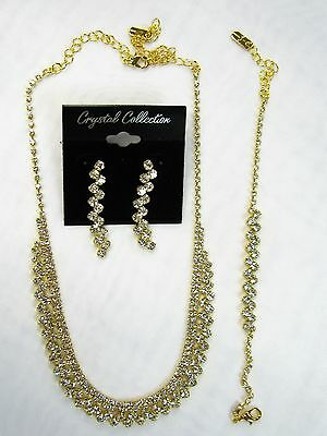 Gold Plated Clear Rhinestone Crystal Necklace Bracelet Earrings Set Bridal 26808