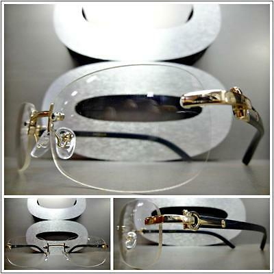 Mens CLASSY Style Clear Lens EYE GLASSES Gold & Wood Wooden Effect Fashion Frame