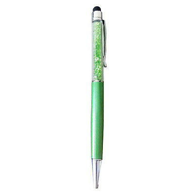 2 in1 Crystal Writing Stylus Touch Screen Pen For IPhone Ipad Tablet Green D6Z6