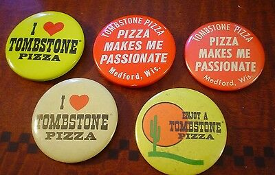 """Tombstone Pizza Vintage Buttons/pinbacks Lot Of (5) """"pizza Makes Me Passionate"""""""