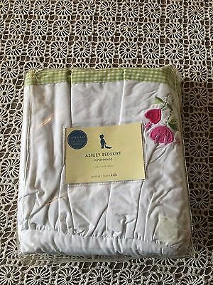 Nip Pottery Barn Kids Cotton Ashley Crib Bedskirt White Green Gingham Floral New