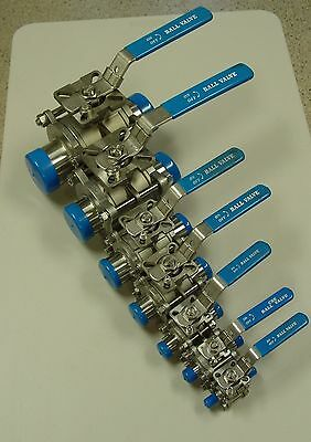 "1/2"" Ball Valve Sanitary 316 SS 3-Piece Weld Ends NEW"