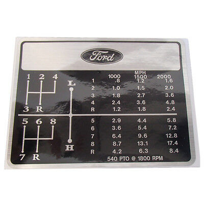 8 Speed Shift Pattern Decal With Logo For Ford 1965 and Up 2000 2310 2600 2610