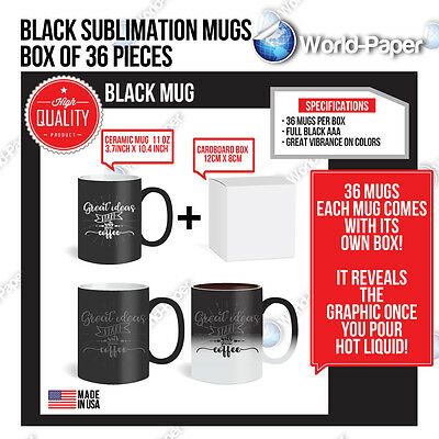 Sublimation Black  Changing Mugs 11oz Coated Magic Cup Heat Transfer