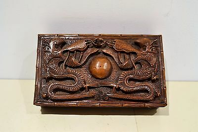 Vintage Wooden Oriental Chinese Japanese Box Carved With Dragons