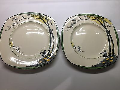 Burleigh Ware Pan Dinner Plates x2 Art Deco Very Rare 1930s Set #1