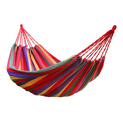190cm x 80cm Stripe Hang Bed Canvas Hammock 120kg Strong and Comfortable Red FK