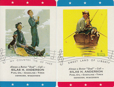 #Vintage Swap / Playing Card - 2 SINGLE -ADVERT- NORMAN ROCKWELL, SILAS ANDERSON
