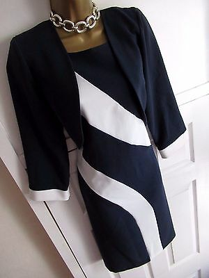 Gorgeous Navy & White Mother of the Bride Wedding Dress Suit Outfit Size 14