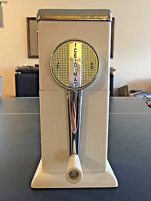 Rival Ice O Mat Manual Ice Crusher Wall Mount White Chrome Blades sharp Vintage