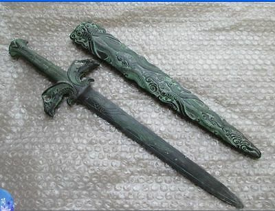 49.5 cm */ The ancient Chinese bronze sword collection two birds statue