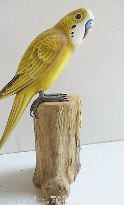 """7""""  Yellow Parakeet Budgie  Perched On Log , Handmade ,wood ,signed"""