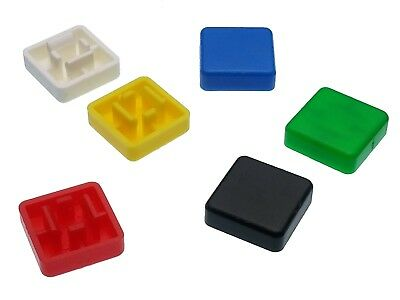 Square A14 Key Caps for 12mm Tactile Push Button Switches - 6 Colours