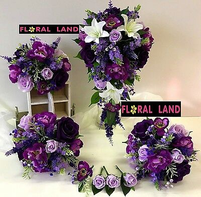 Silk Wedding Bouquet White Lily Purple Roses Lilac Gyp Flowers Teardrop Posy Set