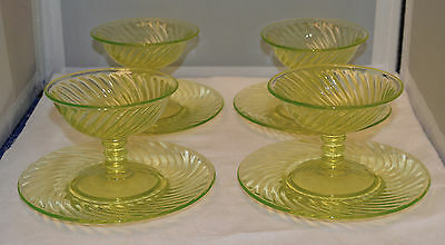 4 Imperial Glass Twisted Optic Vaseline Sherberts with Under Plates - Very Nice