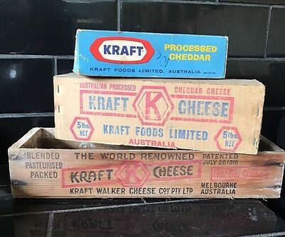 Set Of 3 Vintage KRAFT CHEESE BOXES Cardboard and Wooden