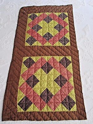 Double Antique Handmade Cutter Quilt Block Runner or for  Crafts 18 X 36""