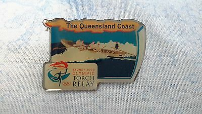 Sydney 2000 Olympics Torch Relay Clutch Back Pin -The Queensland Coast- Freepost