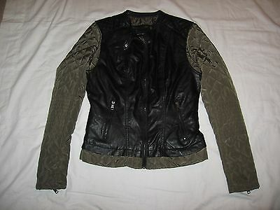 Ci Sono By Cavalini Women's Black Faux Leather Green Zip Up Jacket Size M
