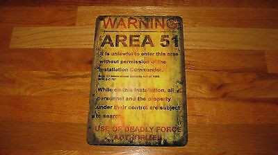 AREA 51 Nuclear Retro Vintage WORN Look Rustic Reproduction Metal Sign-Mancave