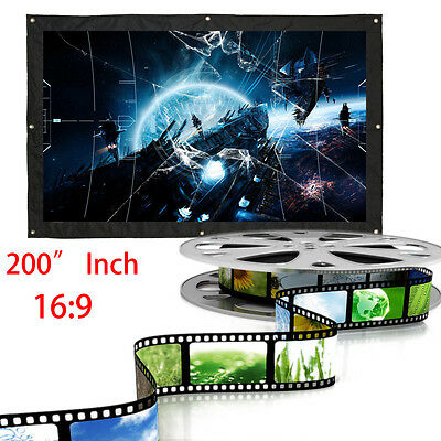 """200"""" 16:9 Home Outdoor Movie Electric Projection Screen Matte White Projector DH"""