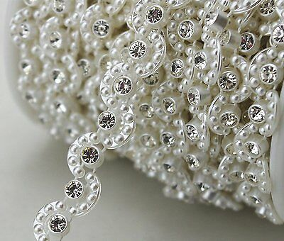 3YD 8mm Lvory Moon Pearl And Rhinestone Chain Sewing Trims Cake Decoration